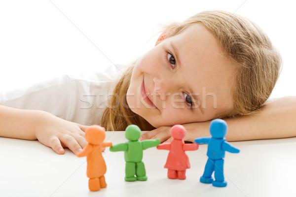 Сток-фото: счастливым · девочку · красочный · глина · люди · семьи