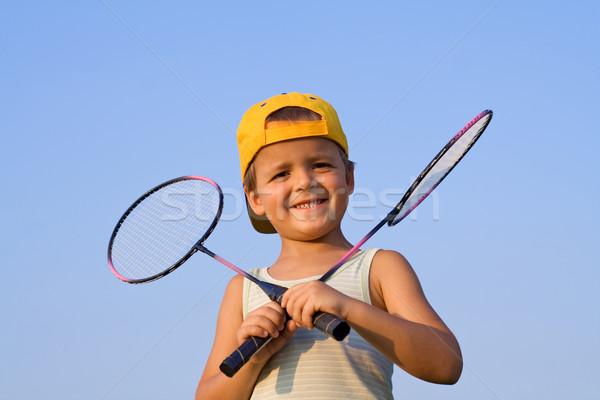 Chłopca badminton dwa niebo szczęśliwy zabawy Zdjęcia stock © ilona75