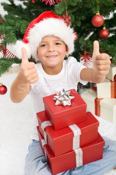 Foto stock: Natal · presentes · menino