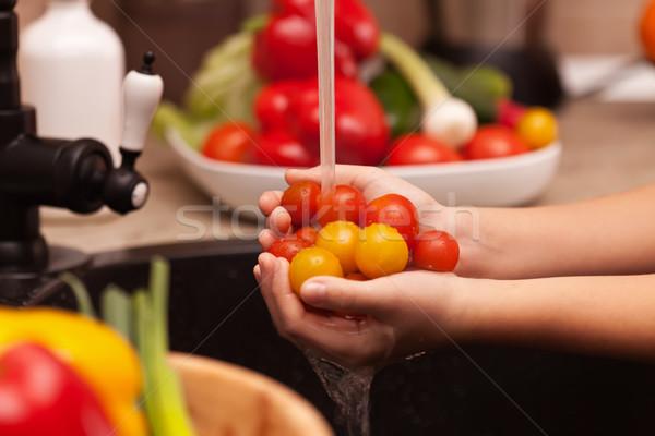 Stok fotoğraf: Sebze · salata · yıkama · malzemeler · kiraz · domates
