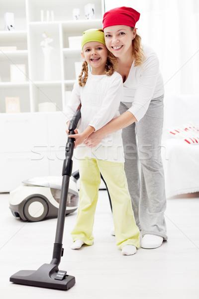 女の子 学習 家庭 真空 洗浄 一緒に ストックフォト © ilona75