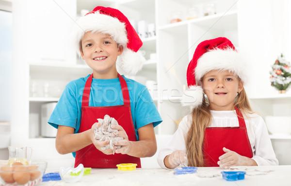 Kids making christmas cookies Stock photo © ilona75