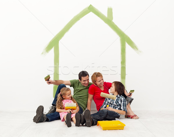 Family repainting their home concept Stock photo © ilona75