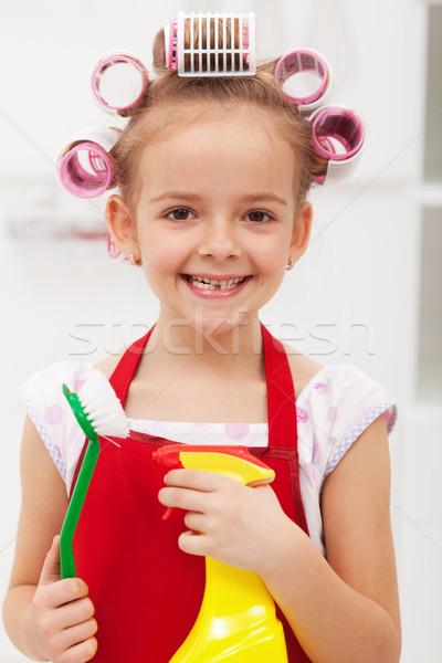 девочку очистки большой ухмыляться улыбка Сток-фото © ilona75