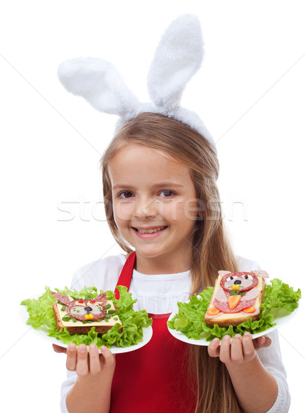 Little bunny chef with rabbit themed sandwiches Stock photo © ilona75