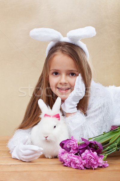Stock photo: Cute bunnies with spring flowers