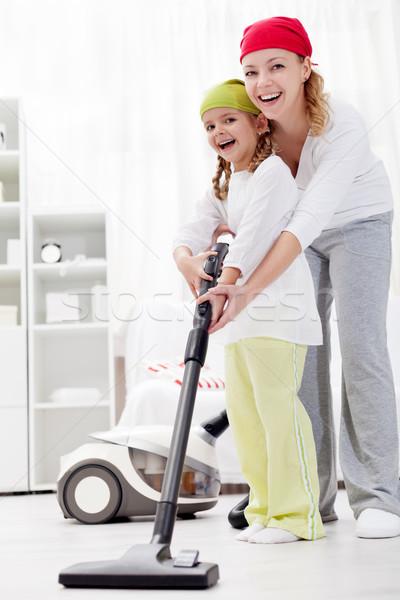 Stock foto: Reinigung · up · Zimmer · zusammen · Spaß · Frau