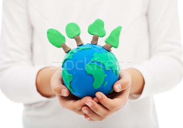 Foto d'archivio: Ecologia · bambino · mano · terra · mondo