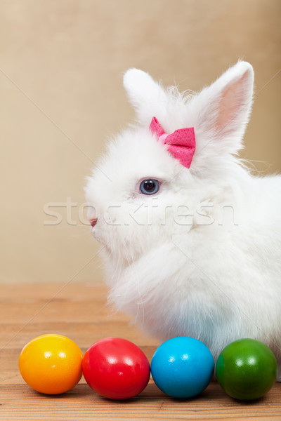 Cute bunny with colorful easter eggs Stock photo © ilona75