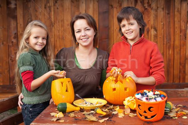 Stock fotó: Boldog · család · halloween · boldog · nő · gyerekek · sütőtök