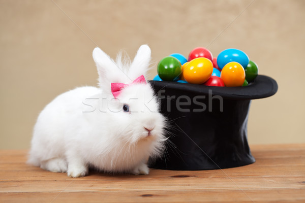 Cute bunny with easter eggs Stock photo © ilona75