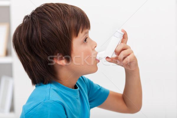 Stock fotó: Fiú · légzési · orvosi · gyermek · gyógyszer · gyerek