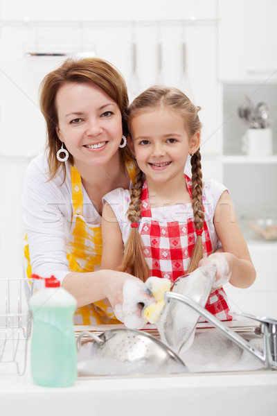 Woman and little girl washing dishes in the kitchen Stock photo © ilona75
