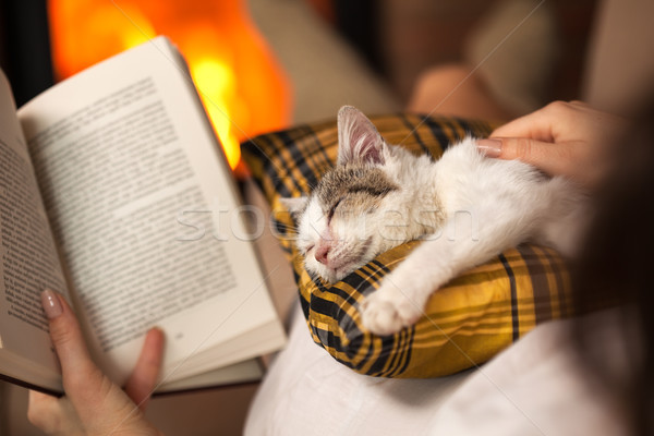 Woman reading by the fire and comforting her rescue kitten Stock photo © ilona75