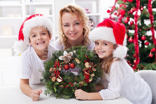 Első házi advent koszorú család karácsony Stock fotó © ilona75