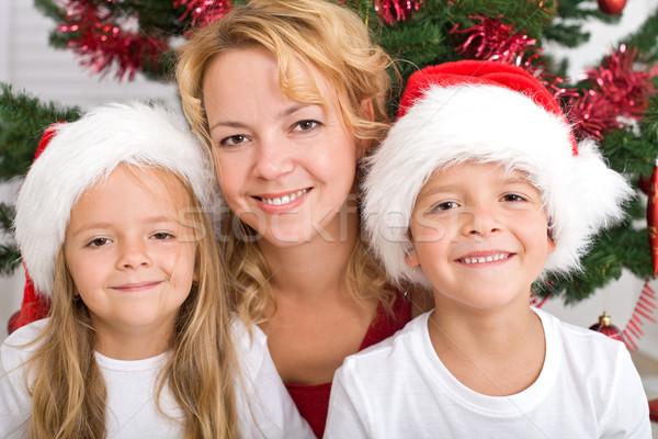 Foto stock: Feliz · natal · crianças · mulher