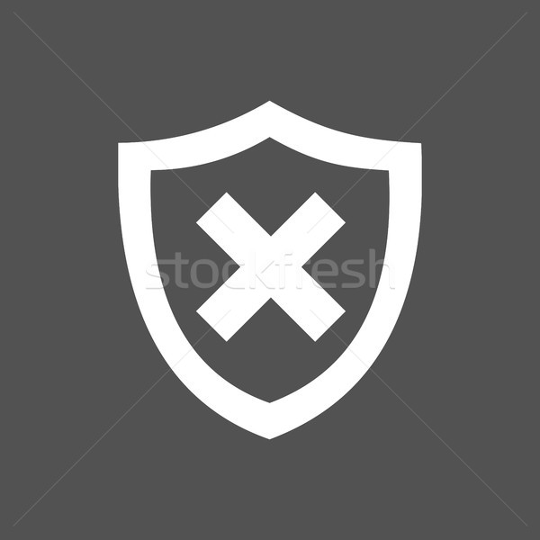 Unprotected shield icon on a dark background Stock photo © Imaagio