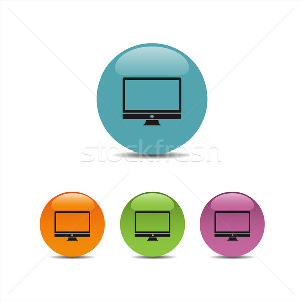 Computer icon on colored buttons Stock photo © Imaagio