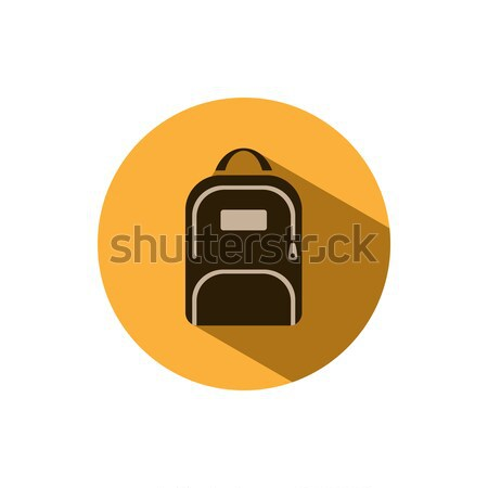 Backpack icon with shadow on a yellow circle Stock photo © Imaagio