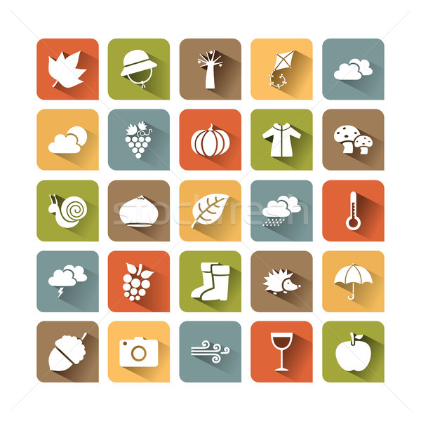 Autumn icon set on colored squares with shade Stock photo © Imaagio