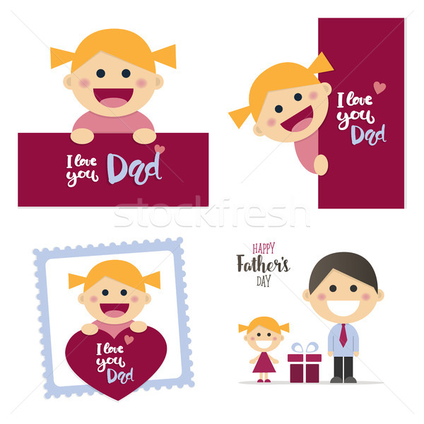 Fathers day cards with a happy blond girl Stock photo © Imaagio