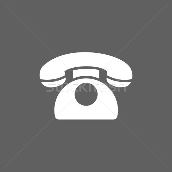 классический телефон икона темно служба дизайна Сток-фото © Imaagio