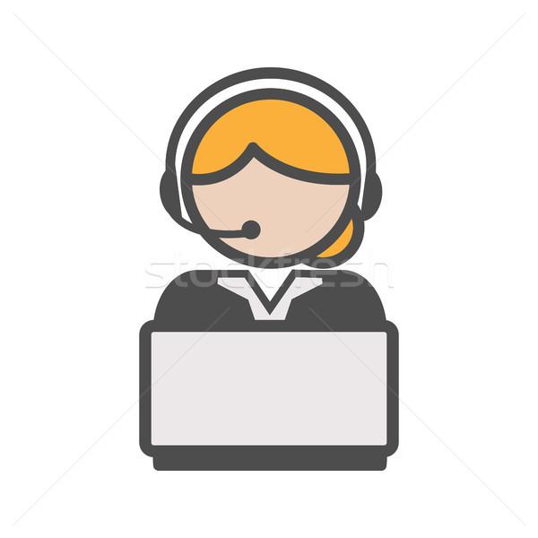 Foto stock: Call · center · agente · ícone · loiro · cabelo · computador