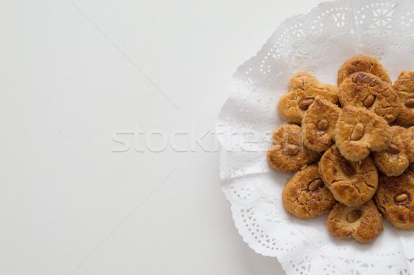 Hagyományos sütik tálca helyes oldal mandula Stock fotó © Imaagio
