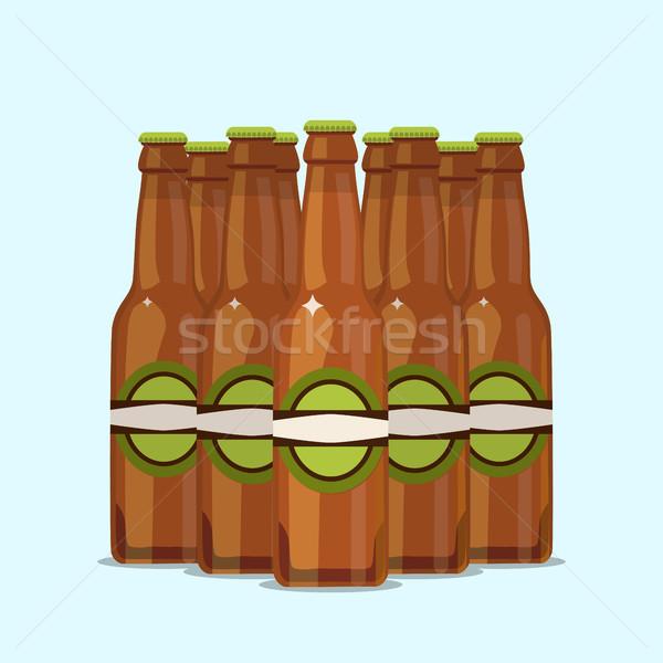 Сток-фото: группа · привлекательный · пива · бутылок · синий · воды
