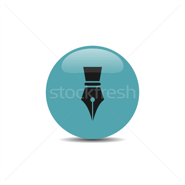 Fountain pen icon on a blue bubble with shadow Stock photo © Imaagio