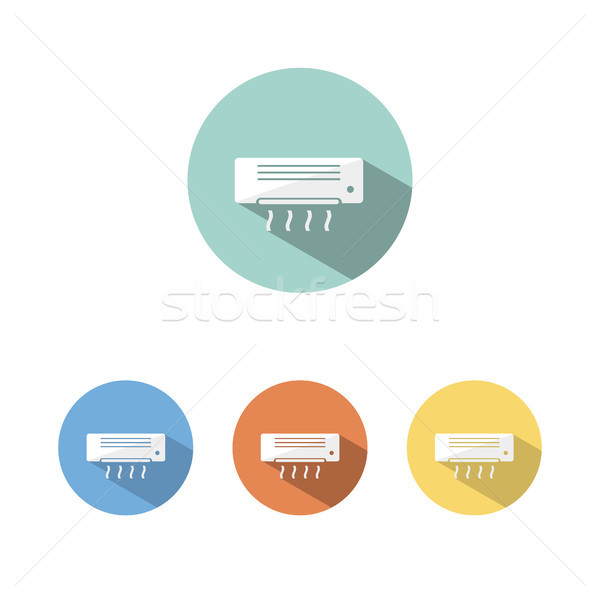 Air conditioning icon with shade on colored circles Stock photo © Imaagio
