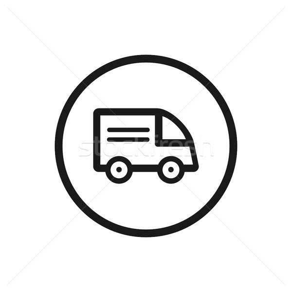 Teherautó ikon fehér üzlet autó felirat Stock fotó © Imaagio