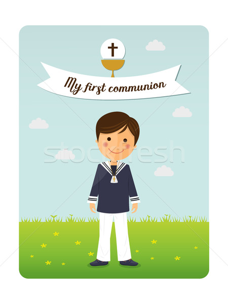 First communion child invitation with message Stock photo © Imaagio