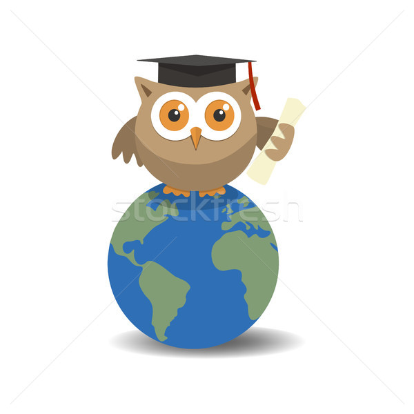 Owl graduate on globe with shade on white background Stock photo © Imaagio