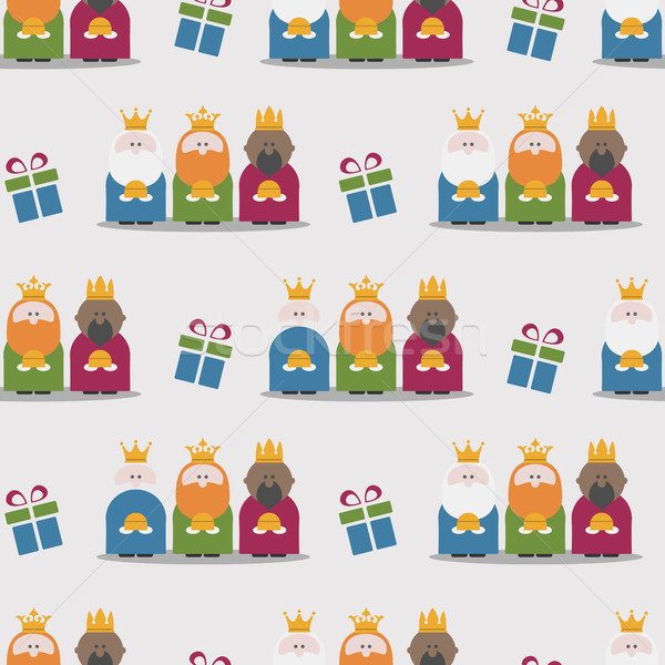 Stock photo: Three Kings and gifts seamless pattern