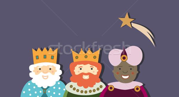 Három királyok csillag égbolt család férfi kék Stock fotó © Imaagio