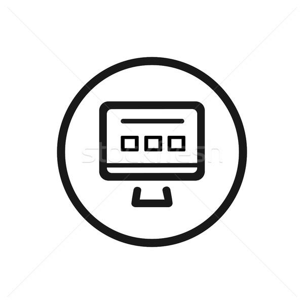 сайт линия икона белый компьютер веб Сток-фото © Imaagio