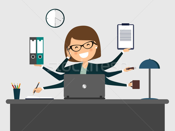 Busy secretary smiling with laptop. Vector illustration Stock photo © Imaagio