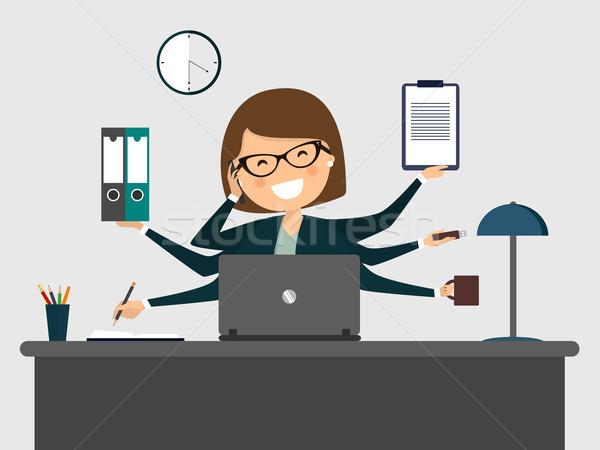 Elfoglalt titkárnő mosolyog laptop számítógép terv Stock fotó © Imaagio