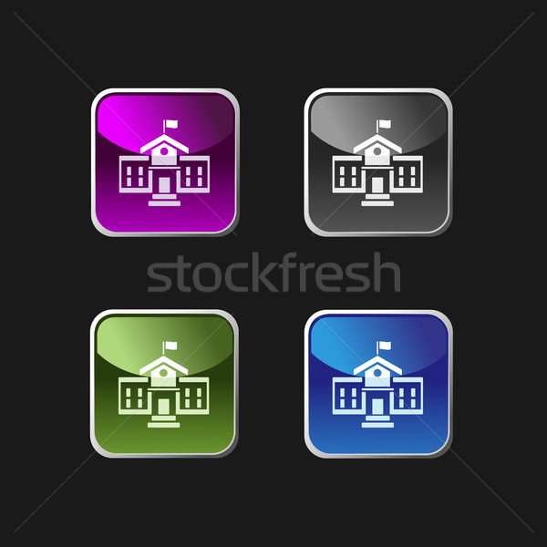 School building icon on square colored buttons Stock photo © Imaagio