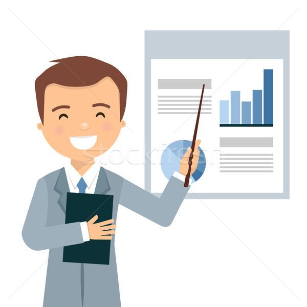 Sonriendo empresario negocios presentación estadística hombre Foto stock © Imaagio