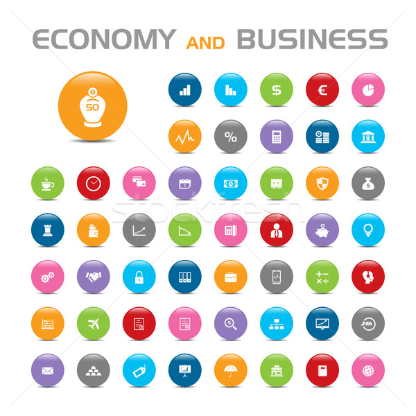 50 Economy and business bubble icons Stock photo © Imaagio