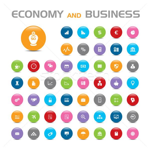 50 gospodarki działalności Bańka ikona biały Zdjęcia stock © Imaagio