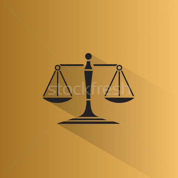 Весы правосудия икона тень желтый масштаба Сток-фото © Imaagio