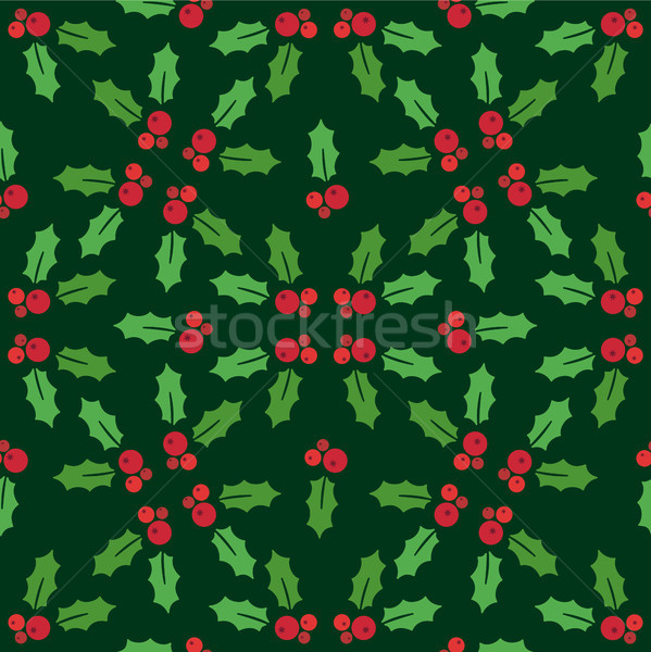 Christmas seamless pattern with holly on a green background Stock photo © Imaagio