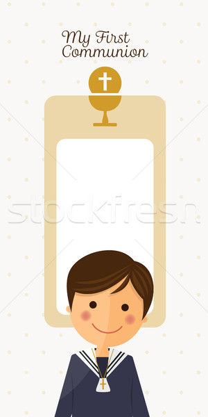 Première communion enfant premier plan vertical carte illustration Photo stock © Imaagio