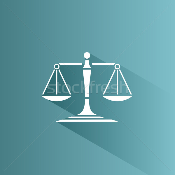Scales of justice icon with shadow on a blue background Stock photo © Imaagio