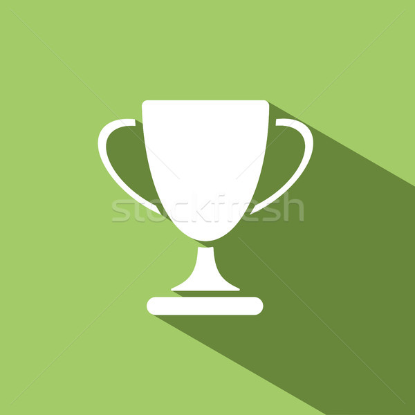 Trophy icon with shadow on green background Stock photo © Imaagio