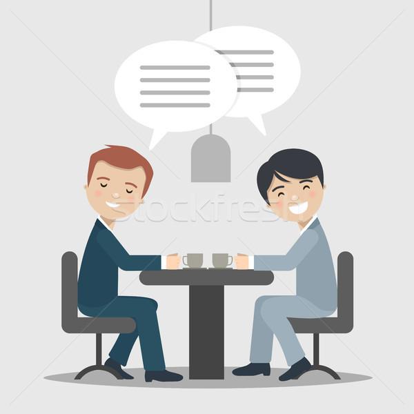 два бизнесмен говорить работу кафе служба Сток-фото © Imaagio