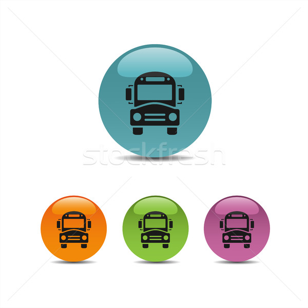 Bus school icon on a colored buttons Stock photo © Imaagio